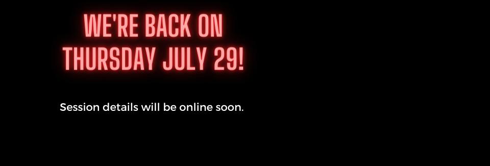 We're back on Thursday!